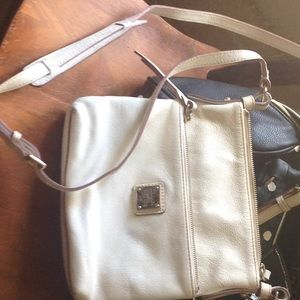 Dooney&Bourke White Leather Letter Carrier Purse
